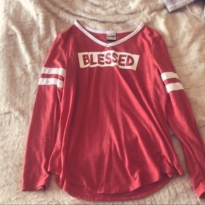 Blessed red and white oversized long sleeve